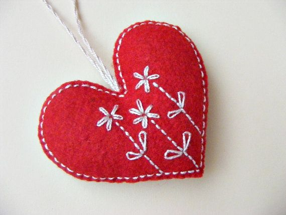 Hand embroidery red heart decoration ornament  felt by LenteJulcsi, $15.00