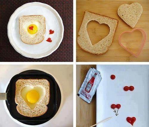 DIY Love Breakfast #valentines, hole in toast heart edition, DIY heart breakfast, frozen hearts, ketchup hearts