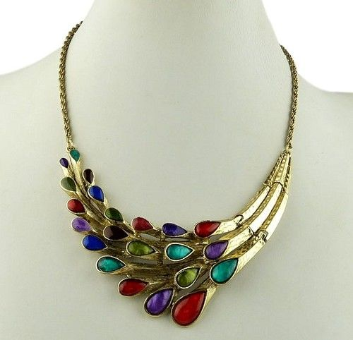 Vintage Retro Art Deco Antique Style Jewellery Gold Plated Peacock Necklace   eBay