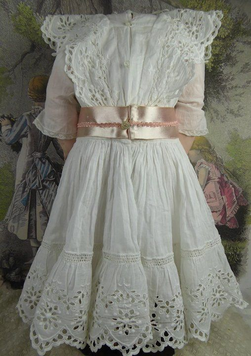 1a1cedae1e3 Wonderful Antique Original French batiste doll dress with elaborate cutwork  and tucks and a matching wired hat