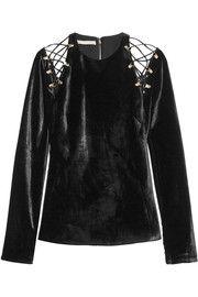 Cutout lace-up velvet top