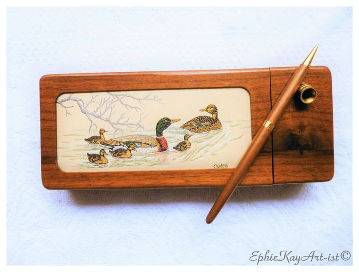 Collector's Vintage Desk Organiser Made of Walnut Wood Decorated w Woven Picture from Cash Collector Wildlife Range Mallards Jacquard Loom by EphieKayArtist on Etsy