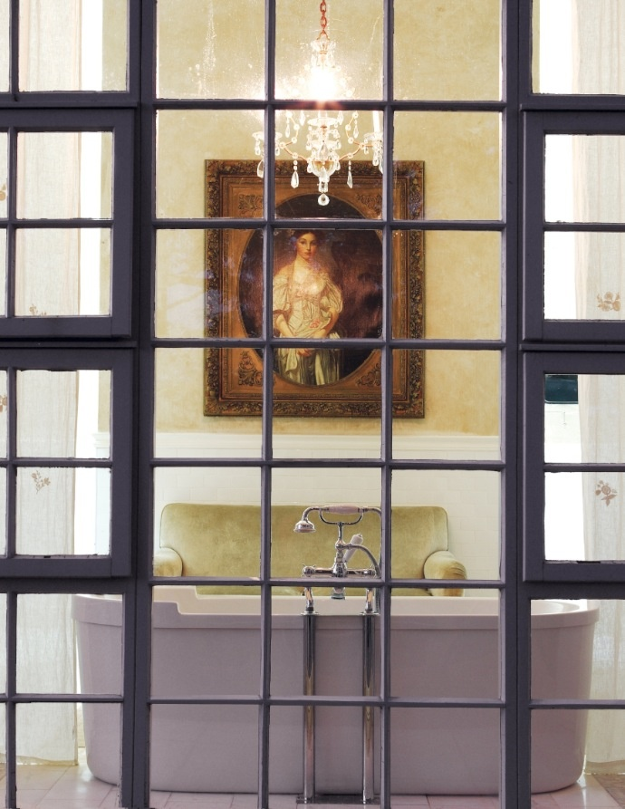 luxury bath with velvet sofa chandelier house leisure aug 2010 classic bathroombathroom modernpainting - Modern Design Bathrooms 2010