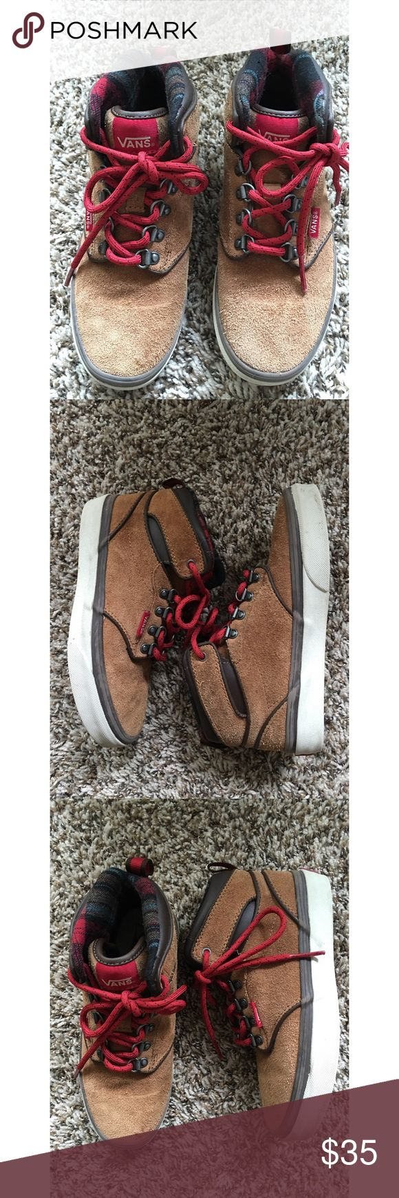 VANS Boys' Atwood Hi-Top Suede Shoes Vans brown suede hiking style high tops with printed padded ankle support (2.5). No damage, stains or signs of wear. No trades. Bundle for a discount. Vans Shoes