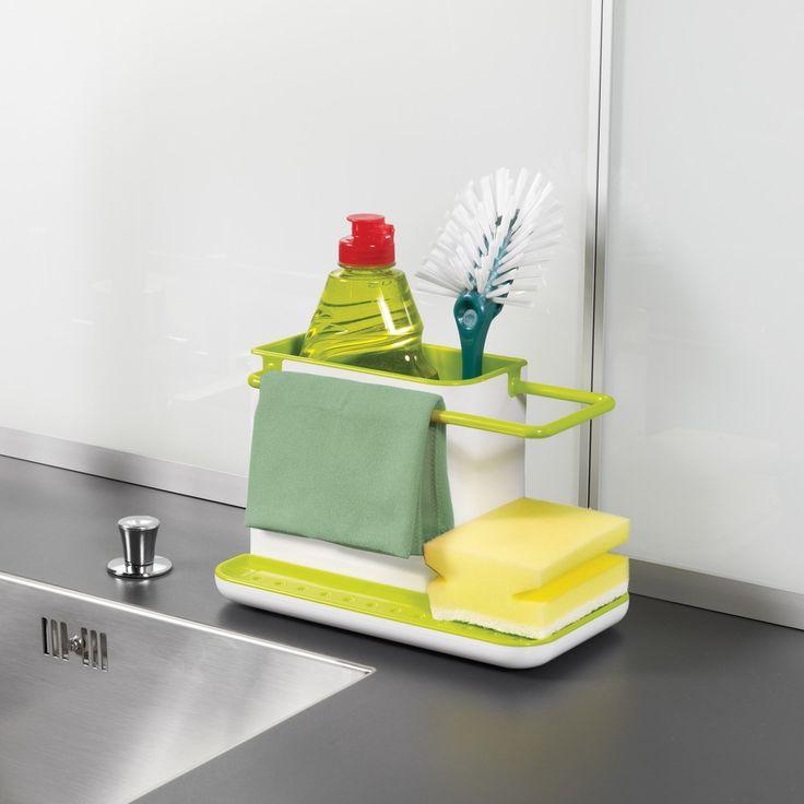 Suportul Caddy este ideal pentru organizarea eficientă a compartimentului chiuvetei de la bucătărie. Principalul spaţiu de depozitare este destinat detergentului şi periei de vase. Rezervorul perforat este locul pentru buretele de vase. Apă reziduală se acumulează în vasul de jos.   Pentru o întreţinere uşoară, suportul Caddy este demontabil şi se poate spăla în maşina de spălat vase. Dimensiunile suportului sunt: 21 x 13 x x11.5 cm. Produsul este ambalat într-o cutie de cadou.