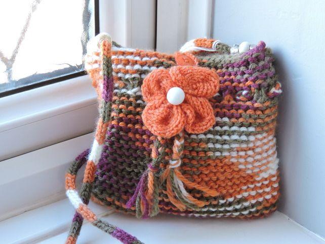Knitted Orange Cream Green Girl's Small Handbag With I-cord Handle £6.00