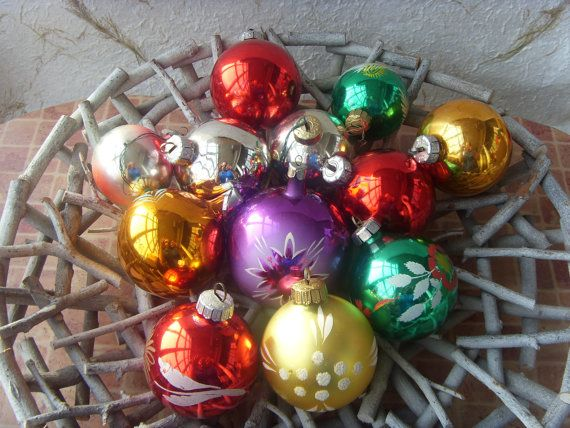 Set of 12 German Vintage Christmas Balls Made in USSR in by Astra9, $17.00