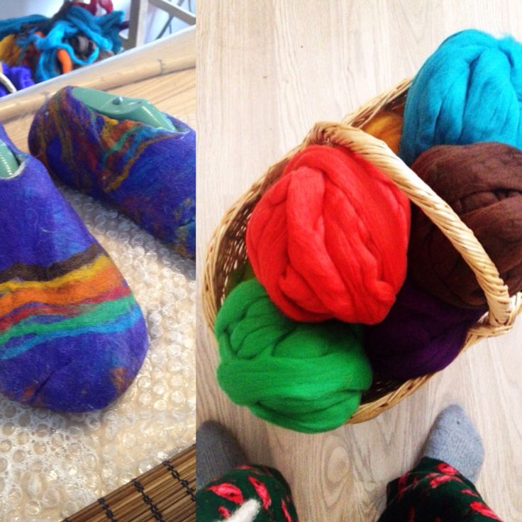 Rainbow coloured wet felt slippers