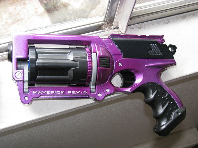 Purple Metalcast Nerf Maverick by animakitty, via Flickr Nothing fancy, but it looks well done. Perfect for a kids Hit Girl costume.