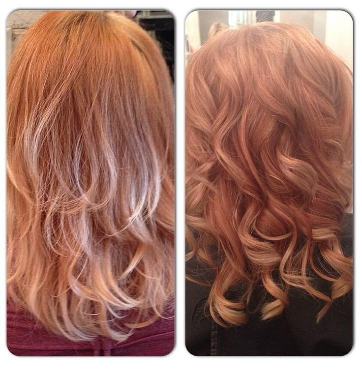 Before and after, first set of highlights after a few weeks of Moroccan oil treatments. The journey to blonde starts.