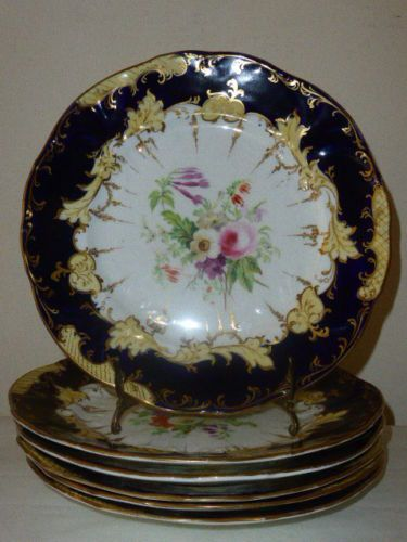 Ridgway-Hand-painted-floral-set-of-6-plates-1840-pattern-2-9626. Sold in Southport AF for £50