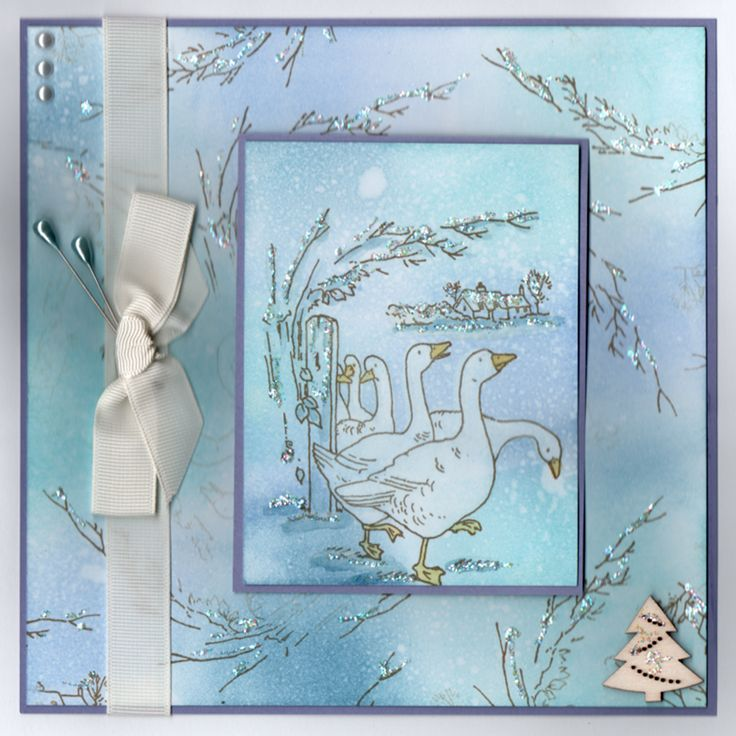 """Gaggle of Geese"" Handmade Card by Jo Rice"