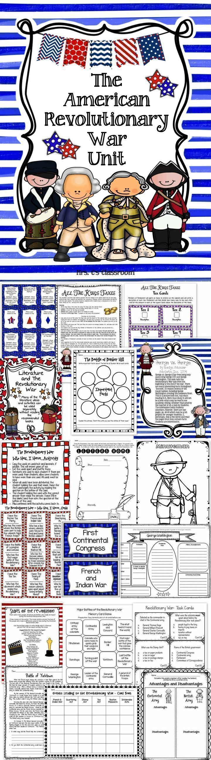 If you teach the American Revolutionary War, this is the unit for you. This American Revolutionary War Unit consists of reading passages, worksheets, reference pages, activities, games, coloring pages, images/pictures, and vocabulary words for a word wall. There is an abundance of information included with the unit.