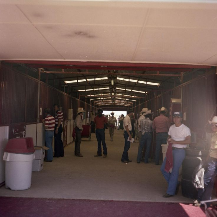 Photograph of Jerry Wells and several others inside a stable. This photograph may have been taken in Denton, Texas or at Windy Hill Farms in Murphy, Texas.