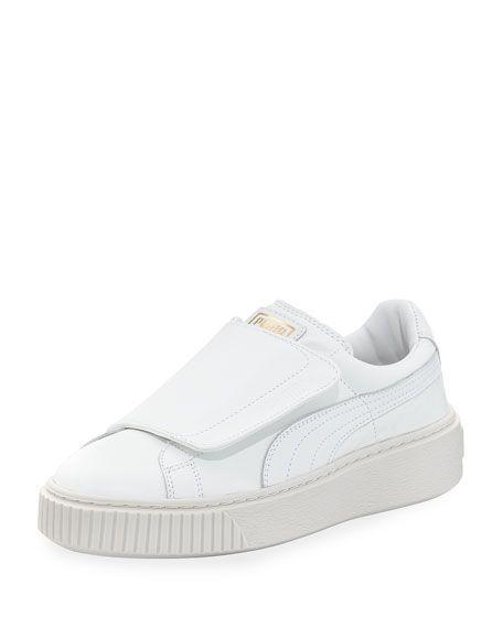 PUMA BASKET WIDE-STRAP PLATFORM SNEAKER, WHITE. #puma #shoes #