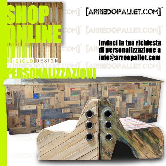 Tutti i nostri prodotti possono essere #personalizzati nella forma, nei #colori e nell'aggiunta di #materiali inviaci la tua richesta a info@arredopallet.com