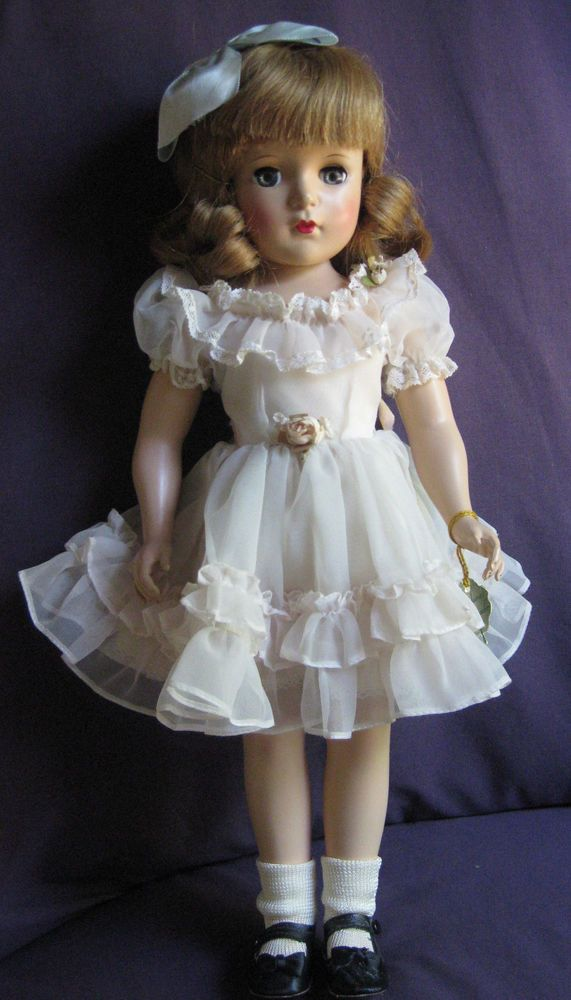 """Vintage Madame Alexander Windy Ann 17"""" Doll. I got a doll for Christmas that looked like this. She had a brown sheer dress woth gold loop decorations."""