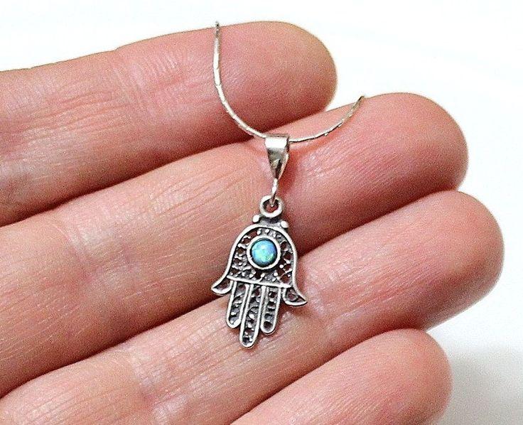 Sterling Silver Hamsa Blue Opal Necklace, Blue Opal Necklace, Necklace Hamsa Opal, Silver Hand Necklace Opal Jewelry by OpalJewelryShop on Etsy