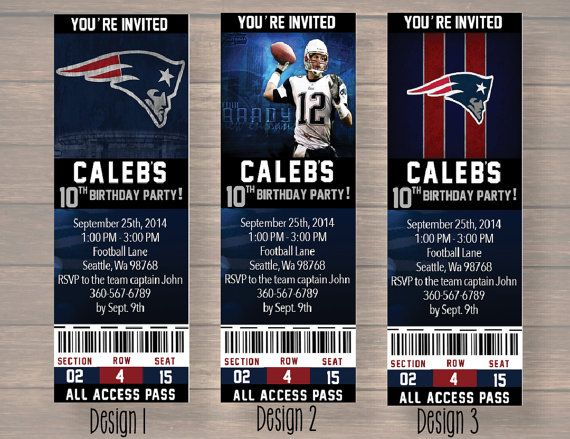 New England Patriots NFL Custom Party Ticket by Onthegoprints