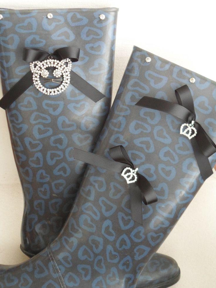 blue-black wellies for women