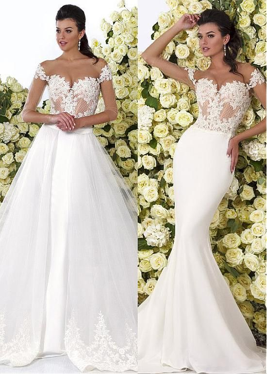 Charming Tulle Scoop Neckline See-through 2 in 1 Wedding Dresses With Lace Appliques