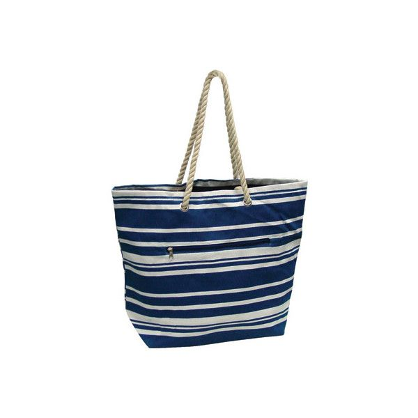 Preferred Nation P1660 Stripe Tote (88 BRL) ❤ liked on Polyvore featuring bags, handbags, tote bags, blue, beach bag tote, striped beach tote, striped tote, summer beach tote and stripe tote