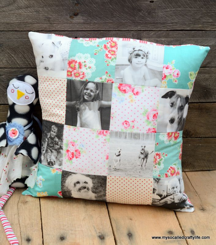 Print some of your favorite photos on fabric and make patchwork pillows. These are so fast to whip up!