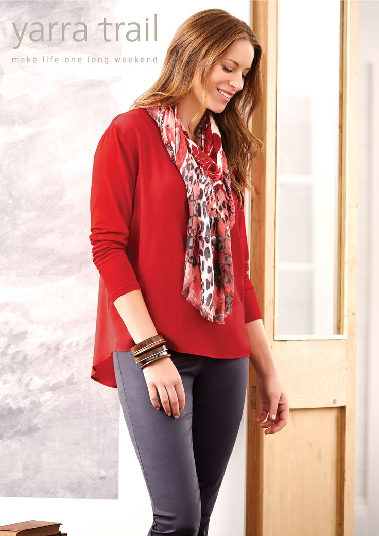 Get that weekend feeling everytime you wear our relaxed fit Spliced Detail Blouse in Scarlet. The super comfy long sleeve silhouette, features a round neckline with jersey panelling for a modern edge. Style with our Pull on Linen Pant or denim to complete your look. http://www.yarratrail.com.au/tops/l-s-spliced-detail-blouse-scarlet-16s4855.html