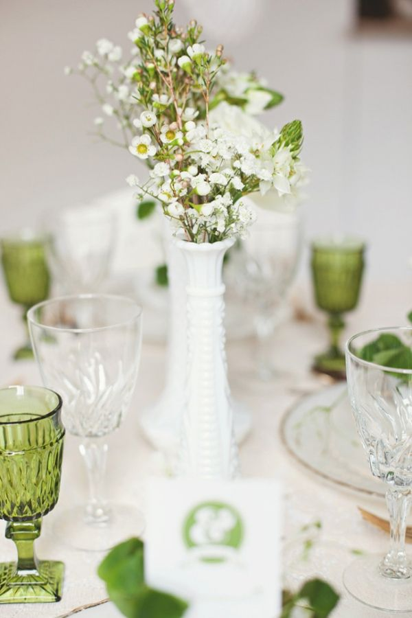 For A Dinner Shower Or WeddingVery Cute And Inexpensive To Find Older Milk Glass Vases Your Centerpieces Mix Match Clear Green Vintage Glasswear