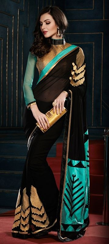 163436 Black and Grey, Blue color family Embroidered Sarees, Party Wear Sarees in Georgette fabric with Fancy Work, Lace work with matching unstitched blouse.