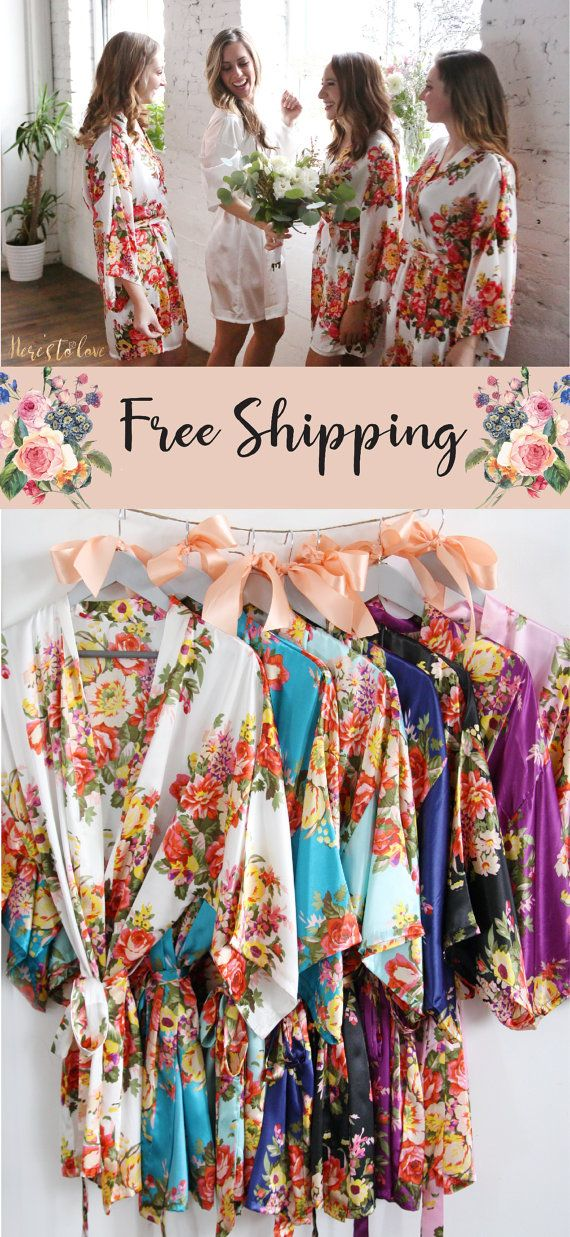 Set of 6 Bridesmaid robes floral bridesmaid robes by HeresToLove
