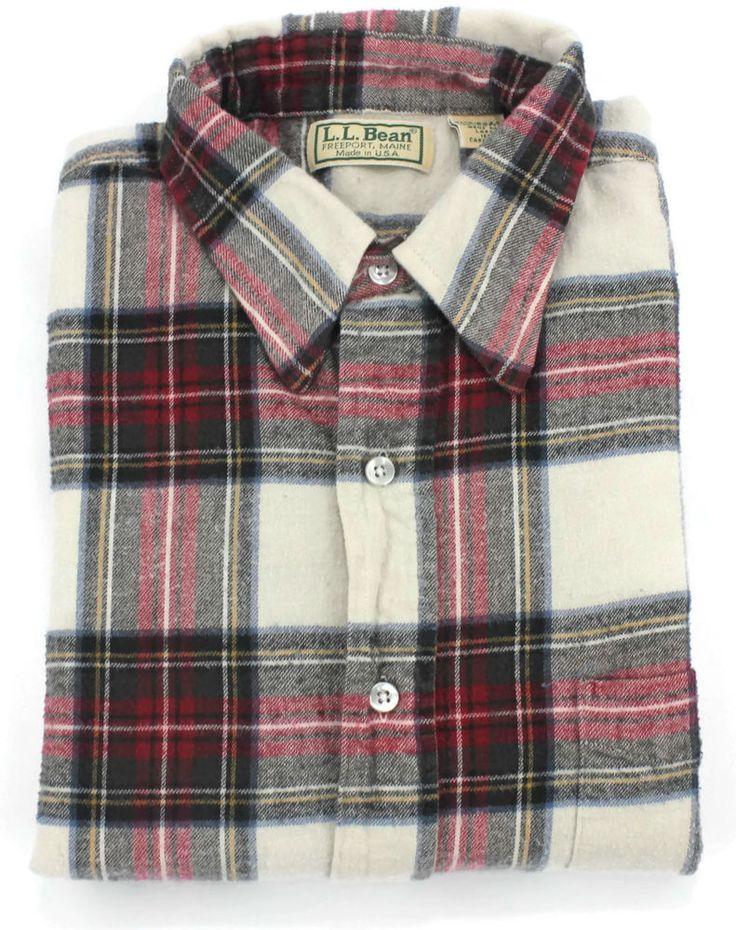 Vintage LL Bean Flannel Shirt Mens Size Large Plaid Checks Lumberjack USA Sz L #LLBean #ButtonFront