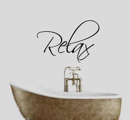 Relax Bathroom Words/Quotes Wall Sticker Decals 17 colours available (Purple): Amazon.co.uk: Kitchen & Home