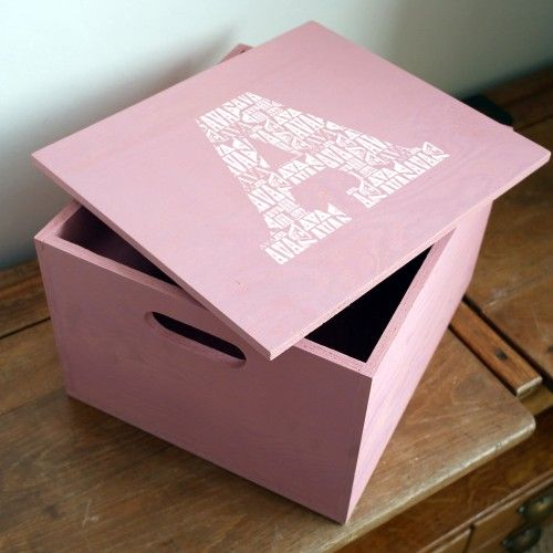 Personalised Baby Keepsake Box. Have their name repeated inside a large letter. Great for keeping toys, secret things or mementos.