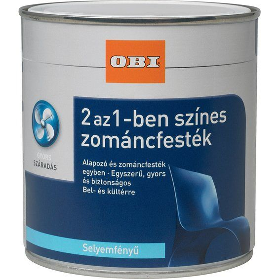 OBI 2 az 1-ben zománcfesték, vízzel hígítható selyemfényű, barit fehér 500 ml