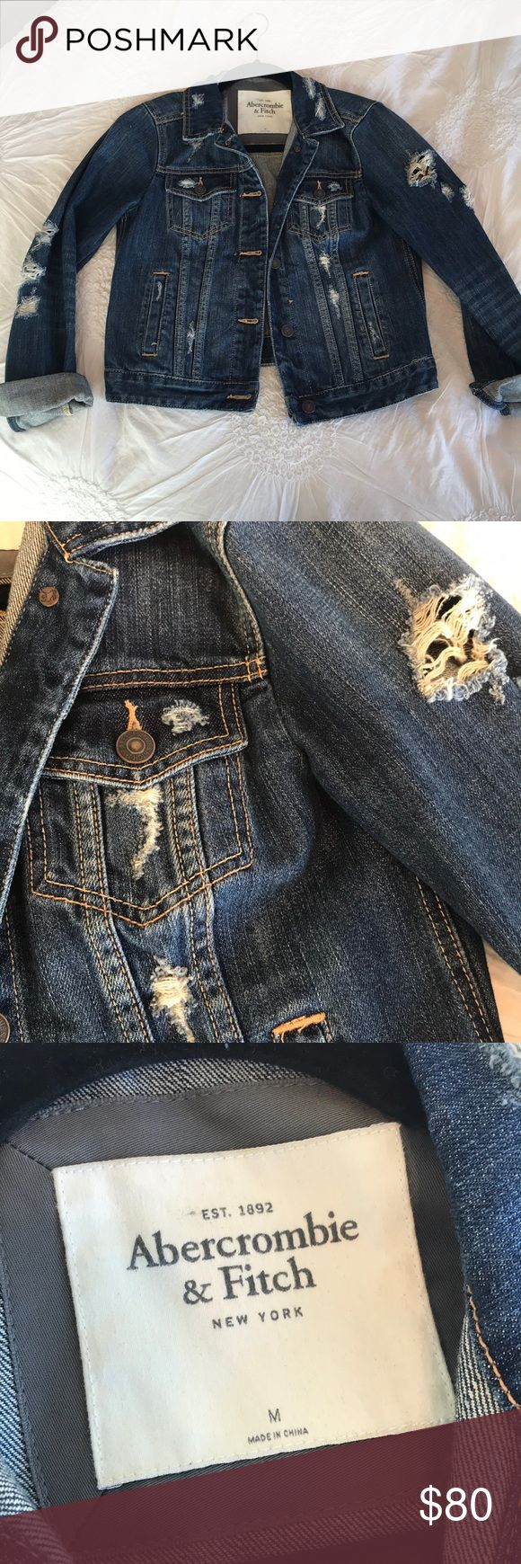 Abercrombie and Fitch jean jacket Distressed denim jacket, medium/dark wash, only worn a couple times, in perfect condition Abercrombie & Fitch Jackets & Coats Jean Jackets