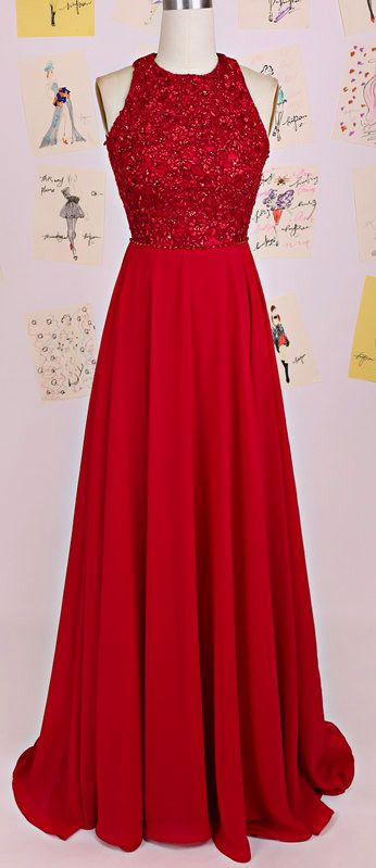 Red Chiffon Halter Open Back Prom Gown