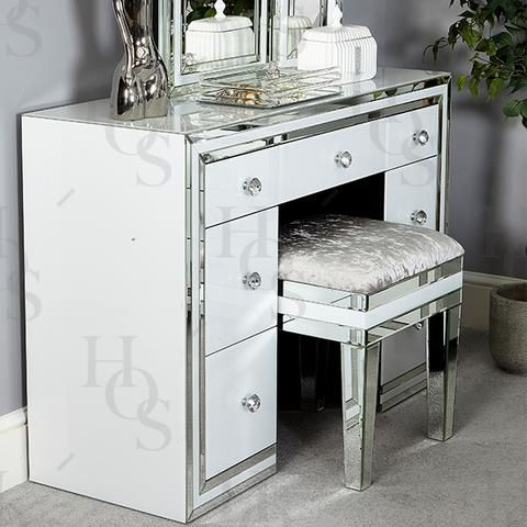 White Seattle 7 Drawer Dressing Table