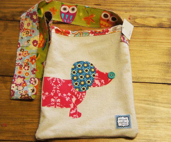 Puppy Dog Appliqued Canvas Crossbody Bag