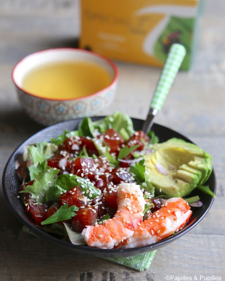 Poke bowl thon avocat crevettes - Une recette excellente à accompagner d'un thé sencha bio #SpecialT                                                                                                                                                                                 Plus