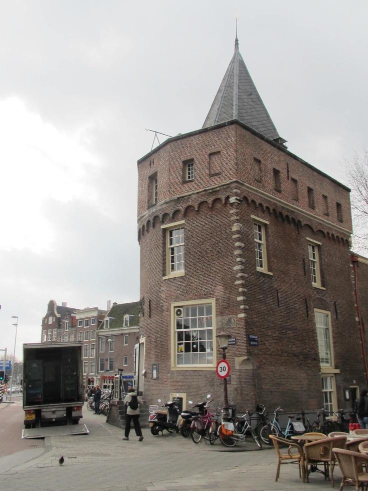 the oldest tower (anno 1487) in Amsterdam: Schreierstoren, Geldersekade (opposite the Centraal Station). Inside is the VOC-cafe.