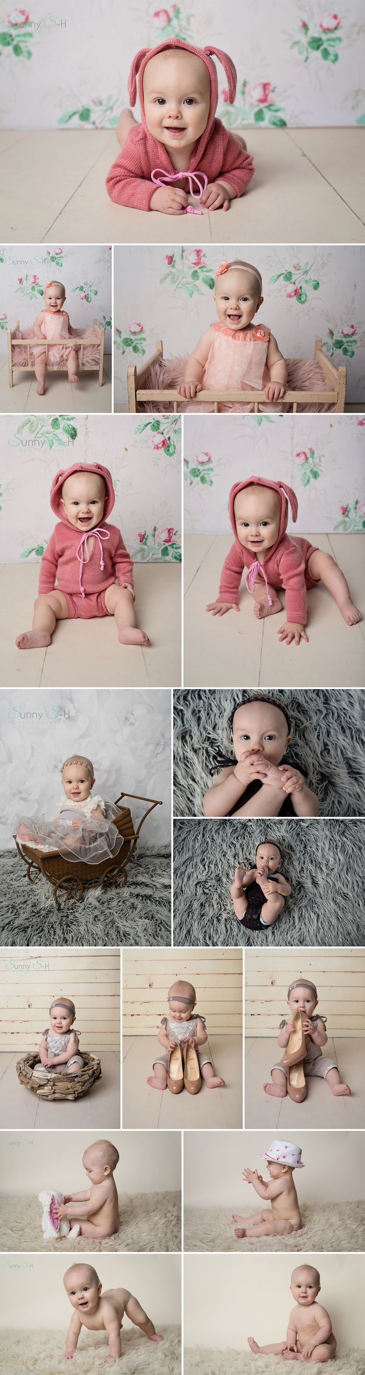 7 month old Erika and her studio sitting stage photo shoot.  Sunny S-H Photography