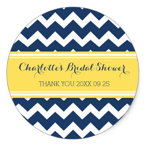 Yellow Blue Chevron Bridal Shower Favor Tags #chevron #craft #supplies
