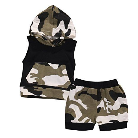 Baby Boys Girls 2pcs Outfit Camo Hooded Vest T Shirt Tops with Pocket+ Shorts Set (0~6months)