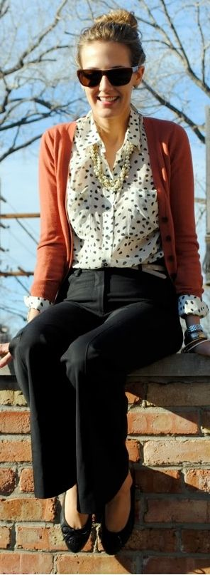 Outfit Posts: outfit post: polka-dot blouse, chunky knit rust cardigan, black 'editor' pant