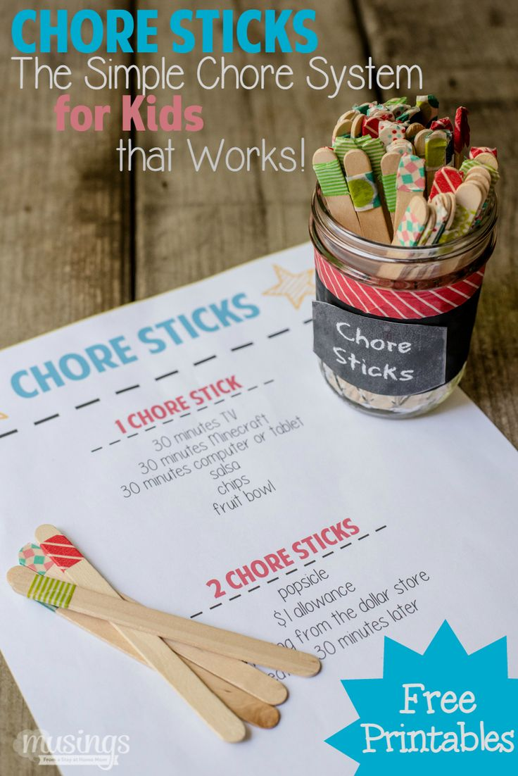 Chore Sticks - the SIMPLE chore system for kids that works so well, they'll beg you for more work to do! Find out how here, plus pick up your free printables!