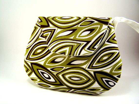 Small Green Brown and White Leaf Clutch Purse by TrampLeeDesigns, $16.00