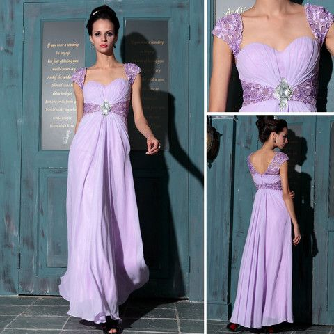Pale Purple Prom Gown Evening Dress Sweetheart Neckline Lace Sleeves – Vintagevolution