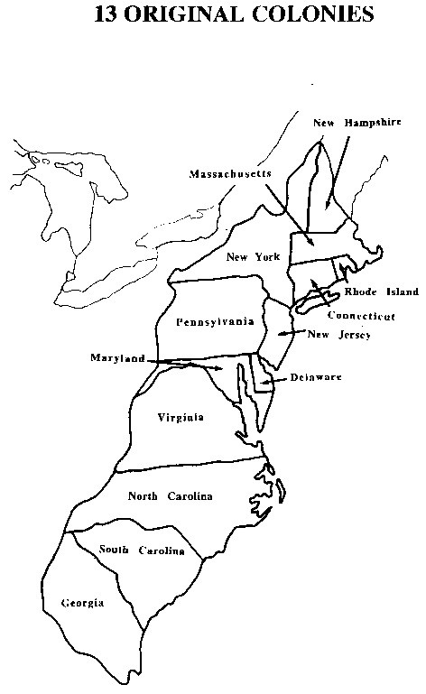 Free coloring pages of 13 colonies map for 13 colonies map coloring page