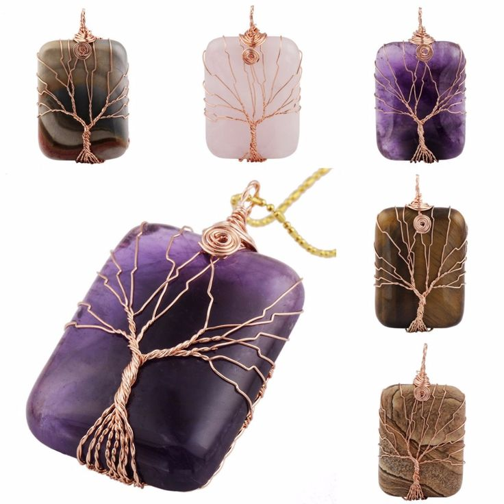 SUNYIK Rectangle Gem Stone Copper Wire Wrapped Tree Of Life Healing Reiki Pendant Fit Necklace (Free Chain)